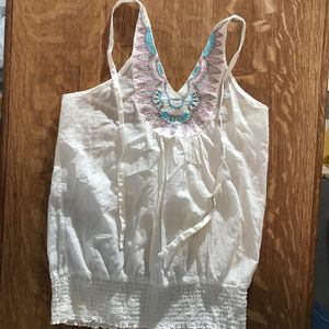 Tops - NWT Passport White Tie Halter Top with Embroidery
